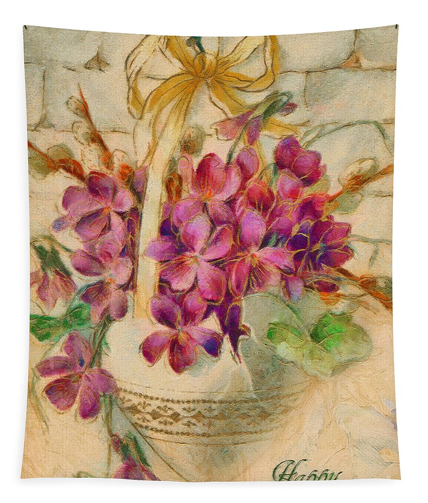 Happy Easter Tapestry featuring the painting Happy Easter by Sergey Lukashin