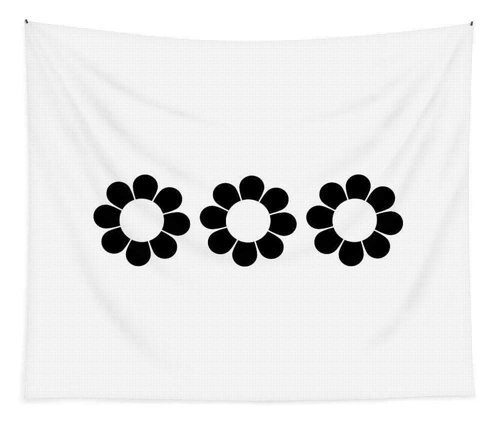 Mid Century Modern Tapestry featuring the digital art Happy Flower Trio by Donna Mibus