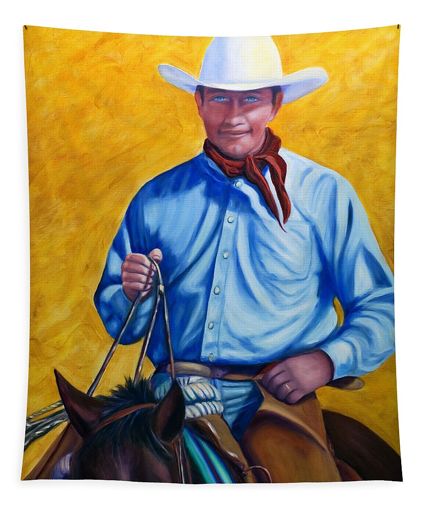 Cowboy Tapestry featuring the painting Happy Trails by Shannon Grissom