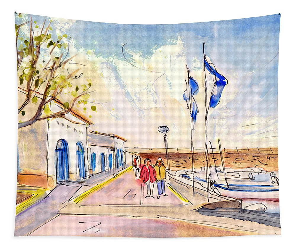 Travel Tapestry featuring the painting Harbour Of Cala Ratjada 01 by Miki De Goodaboom