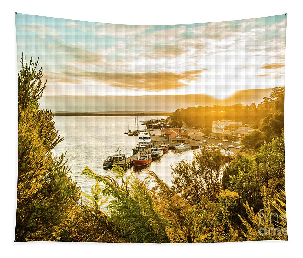 Tasmania Tapestry featuring the photograph Harbouring A Colourful Vista by Jorgo Photography - Wall Art Gallery