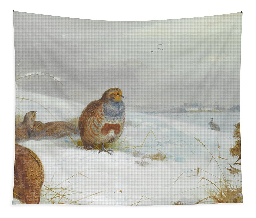 Hard Times Tapestry featuring the mixed media Hard Times Partridges By Thorburn by Archibald Thorburn