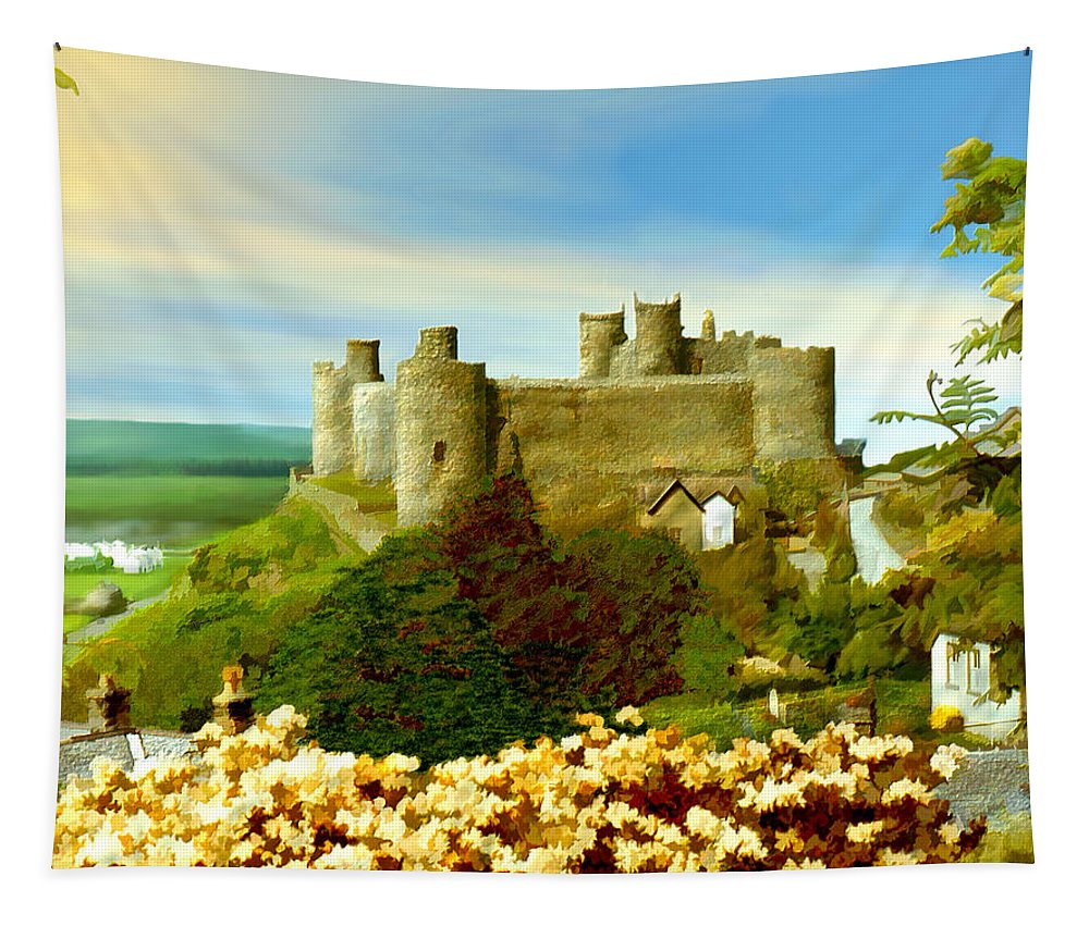 Castles Tapestry featuring the photograph Harlech Castle by Kurt Van Wagner