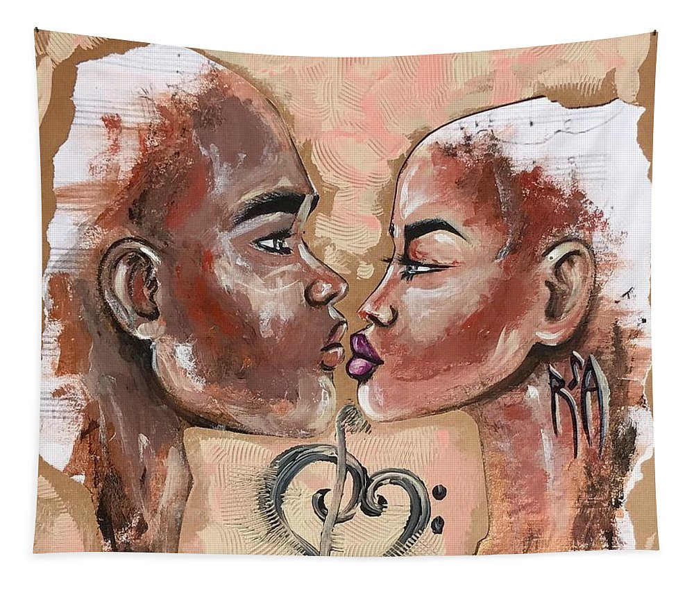 Black Love Tapestry featuring the painting Harmonies by Artist RiA