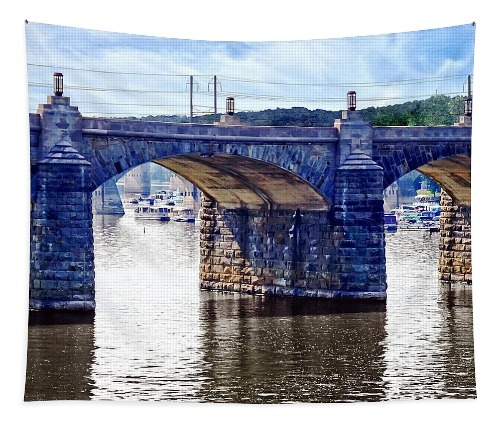 I Saw This View Of The Market Street Bridge From The Walnut Street Pedestrian Bridge. The Market Street Bridge Goes From Downtown Harrisburg To City Island Known For Entertainment And Sporting Events. You Can See The City Island Marina Through The Arches Of The Bridge. Tapestry featuring the photograph Harrisburg Pa - Market Street Bridge by Susan Savad
