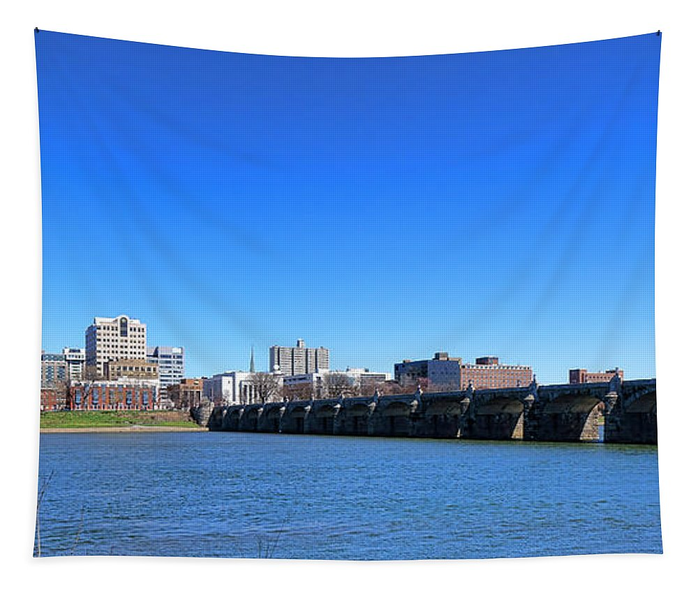 Harrisburg Tapestry featuring the photograph Harrisburg Skyline by Olivier Le Queinec