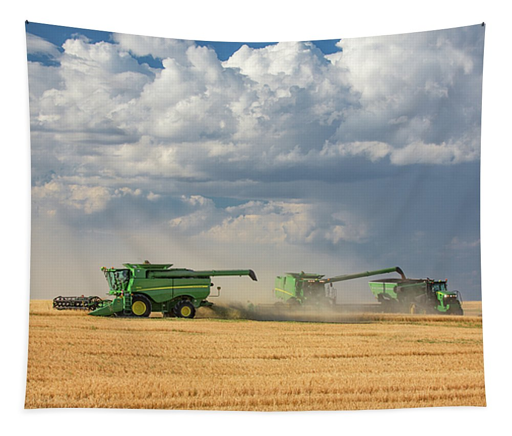 John Deere Tapestry featuring the photograph Harvest Clouds by Todd Klassy