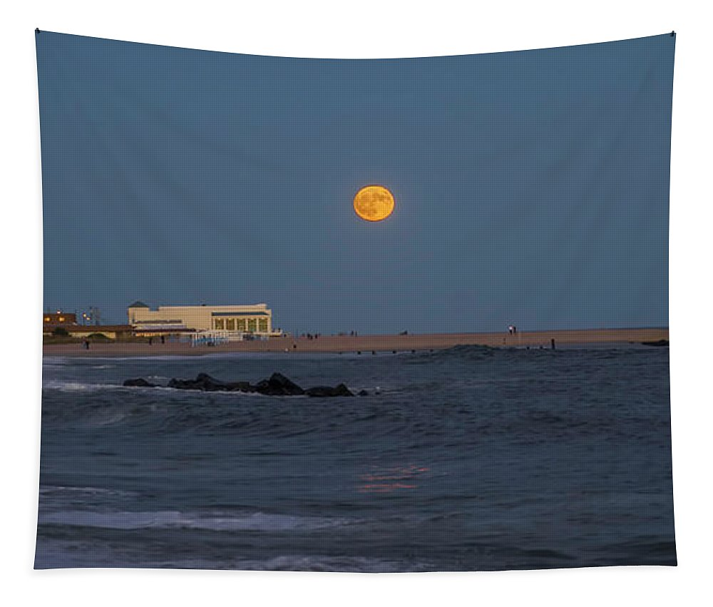 Harvest Tapestry featuring the photograph Harvest Moon Over Cape May by Bill Cannon