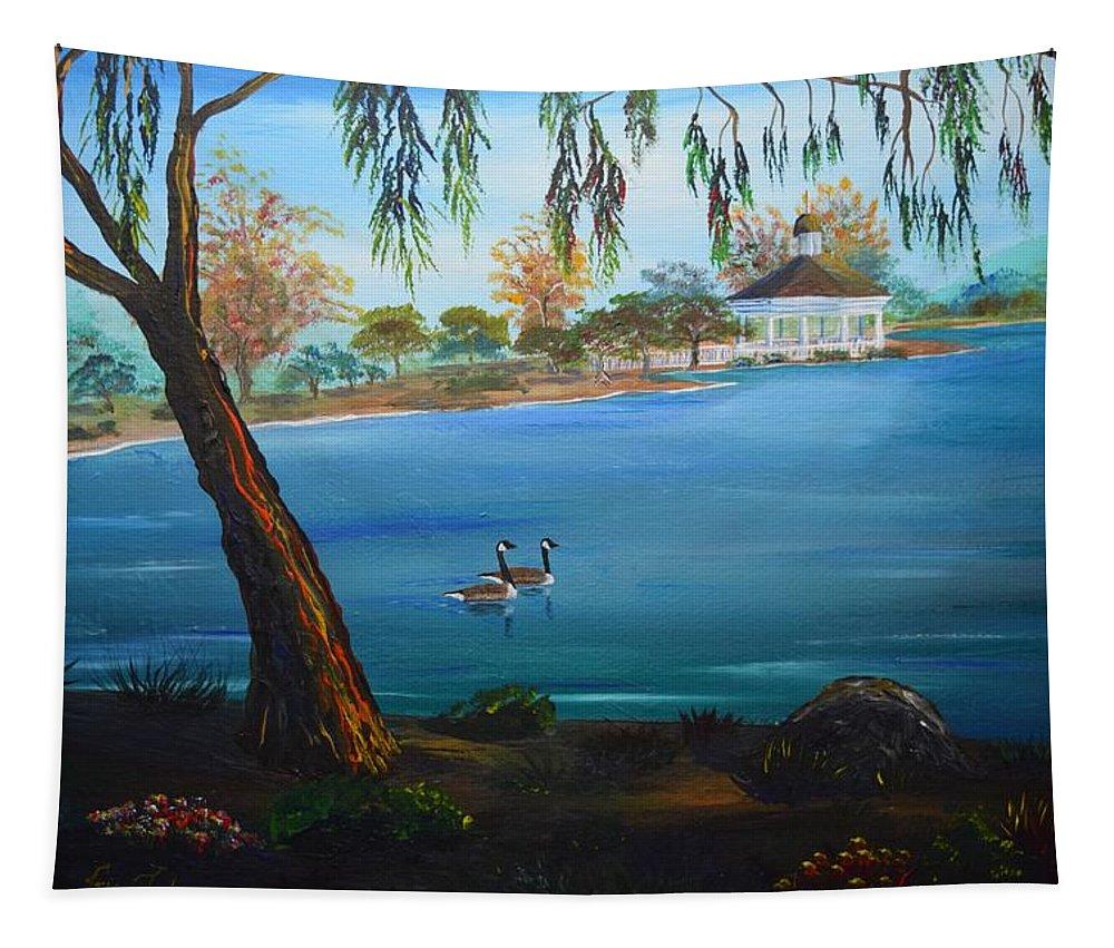 Harveston Lake Tapestry featuring the painting Harveston Lake Geese by Eric Johansen