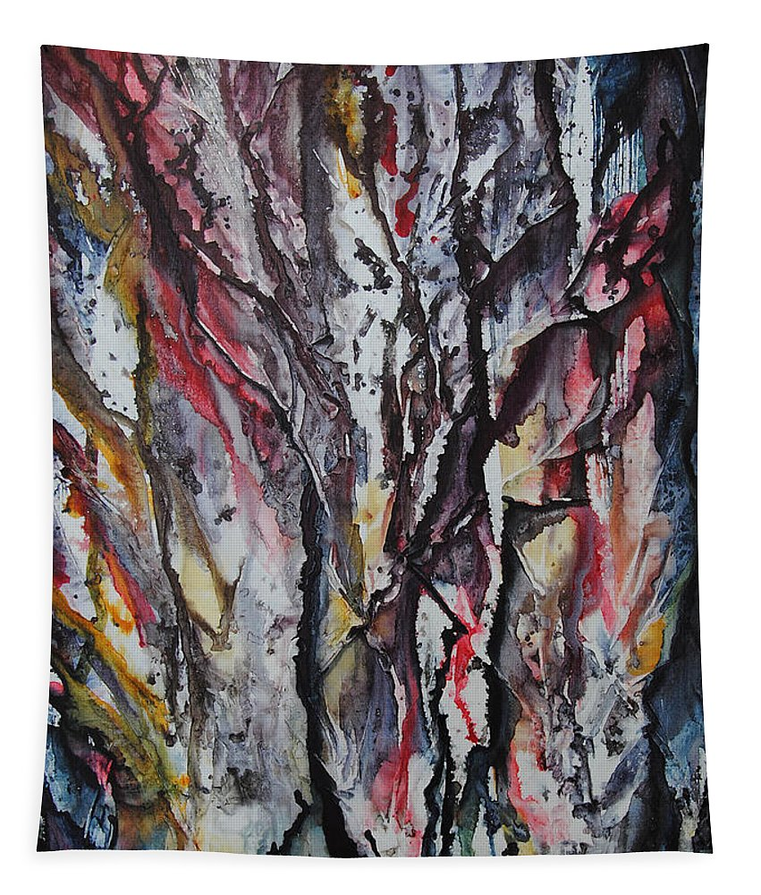 Woods Tapestry featuring the painting Haunted Forest by Vallee Johnson