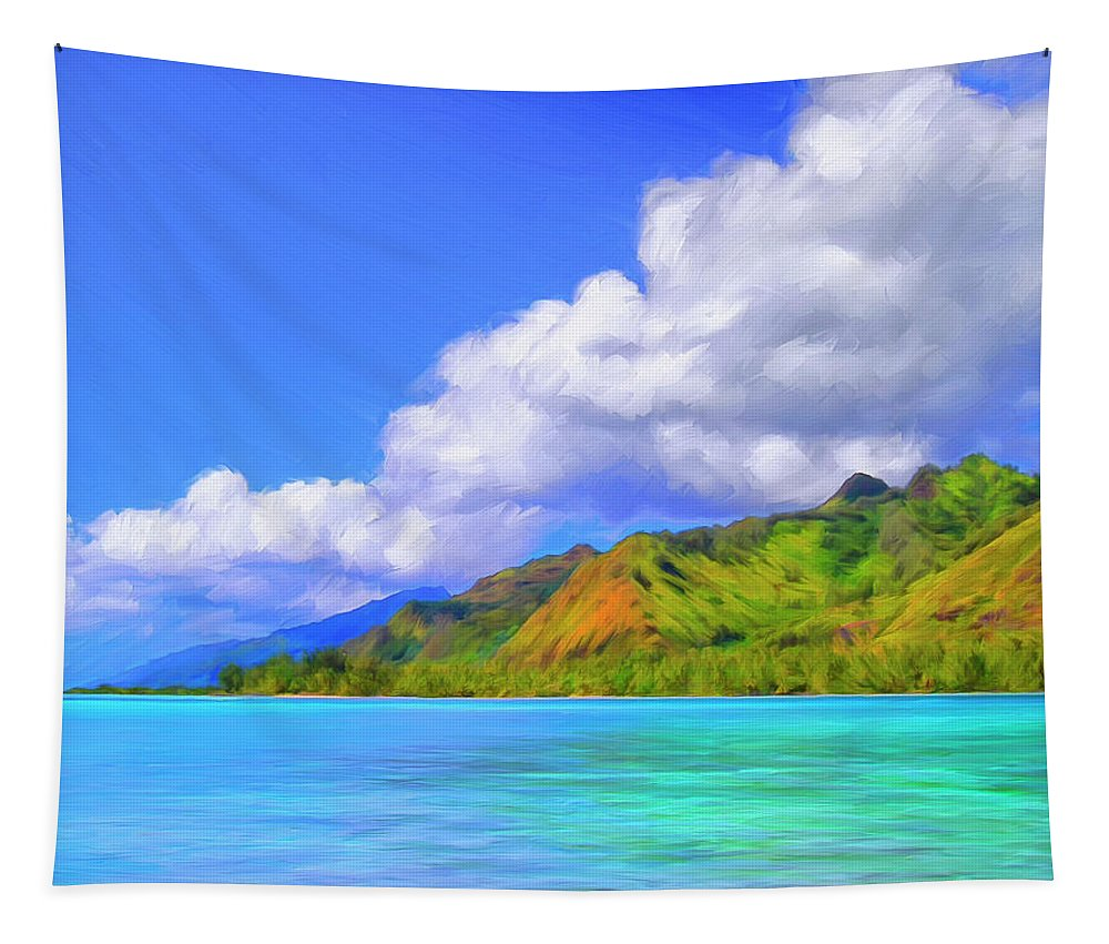 Hauru Point Tapestry featuring the painting Hauru Point Moorea by Dominic Piperata