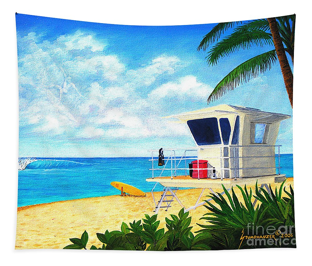 Hawaii Tapestry featuring the painting Hawaii North Shore Banzai Pipeline by Jerome Stumphauzer