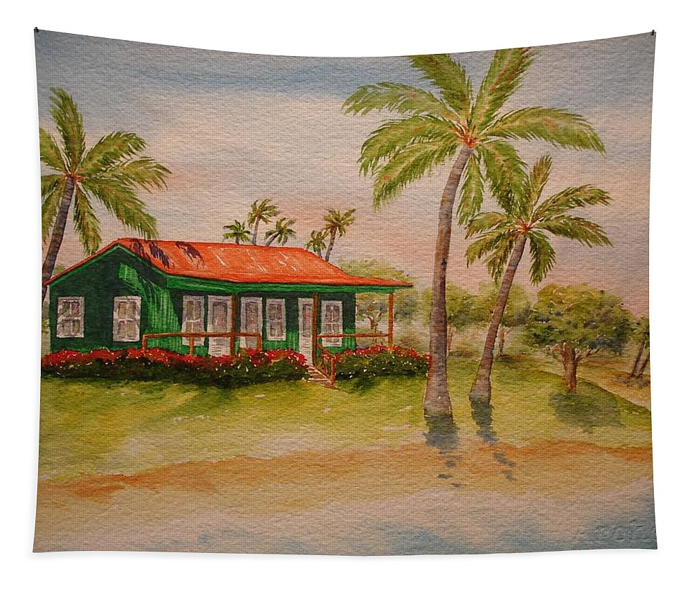 Hawaii Tapestry featuring the painting Hawaiin Cottage by Rosie Phillips