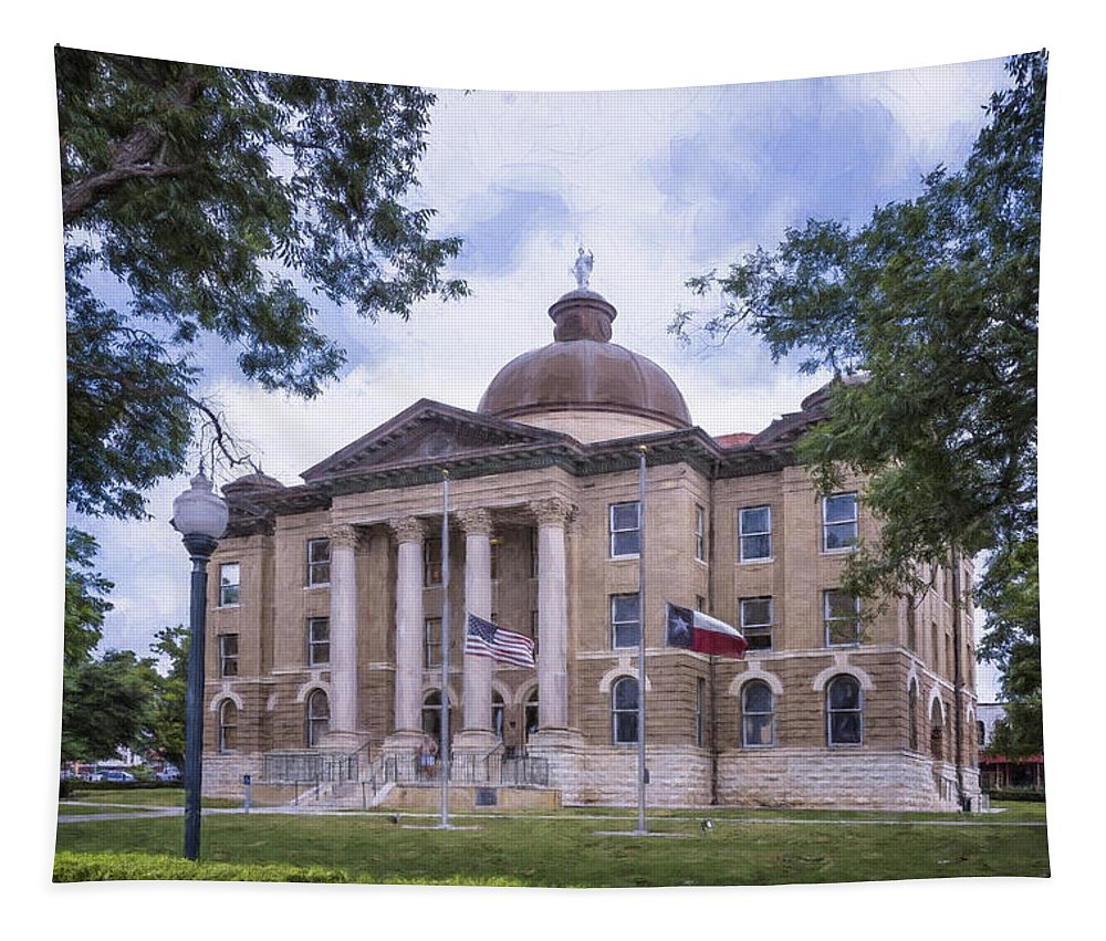 Joan Carroll Tapestry featuring the photograph Hays County Courthouse by Joan Carroll