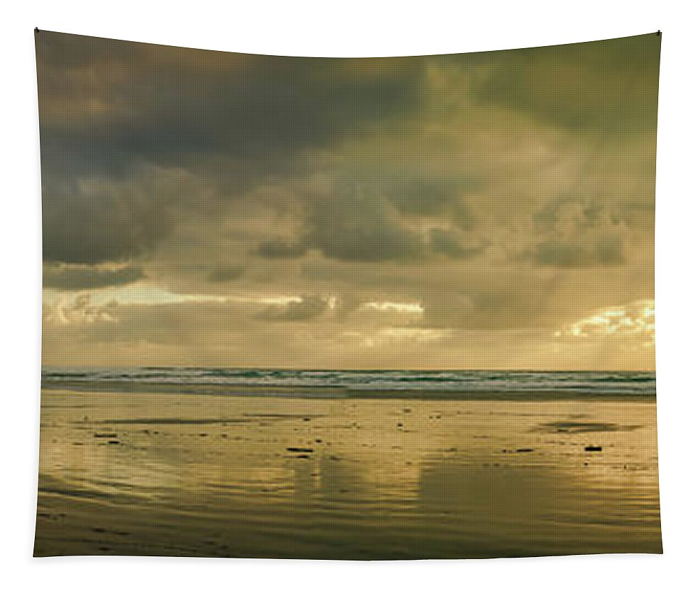 Cannon Beach Tapestry featuring the photograph Haystack Sunset Panorama by Don Schwartz