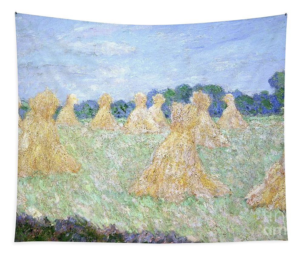 French Tapestry featuring the painting Haystacks The Young Ladies Of Giverny Sun Effect by Claude Monet