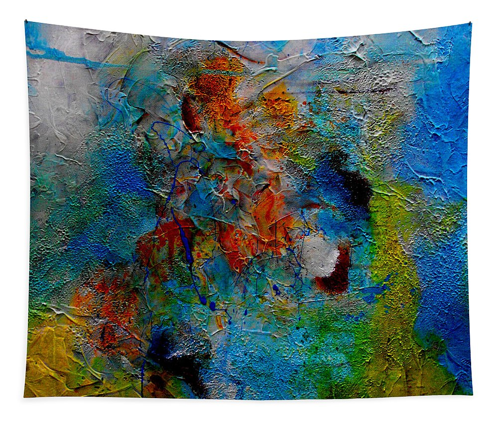ruth Palmer Abstract Christian Contemporary Color Faith Religion Bible God Jesus Spiritual Texture Tapestry featuring the painting He Loves Us Inspite Of Ourselves by Ruth Palmer