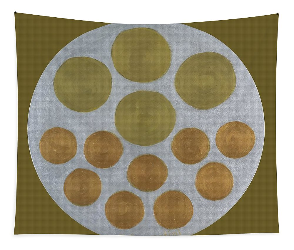 He Tu Tapestry featuring the painting He Tu Metal Round by Adamantini Feng shui