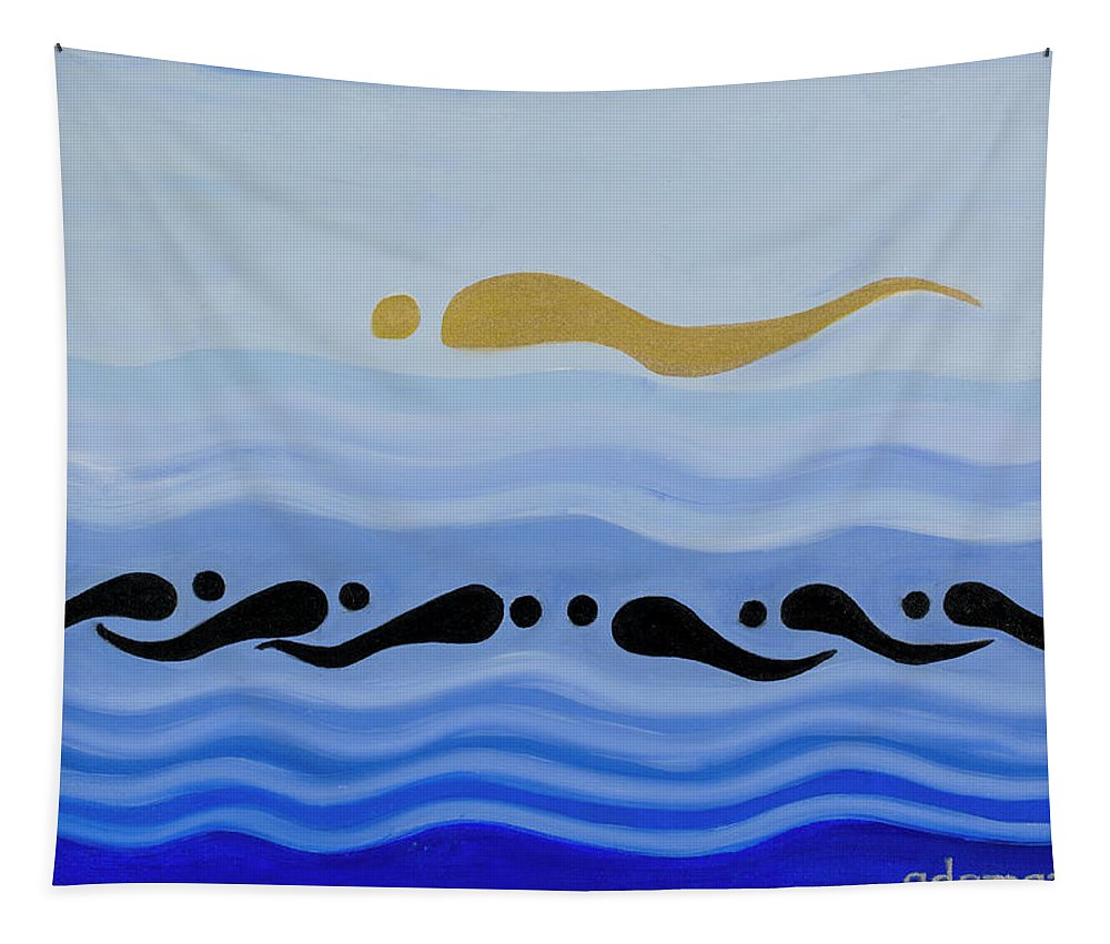 He Tu Water Tapestry featuring the painting He Tu Water by Adamantini