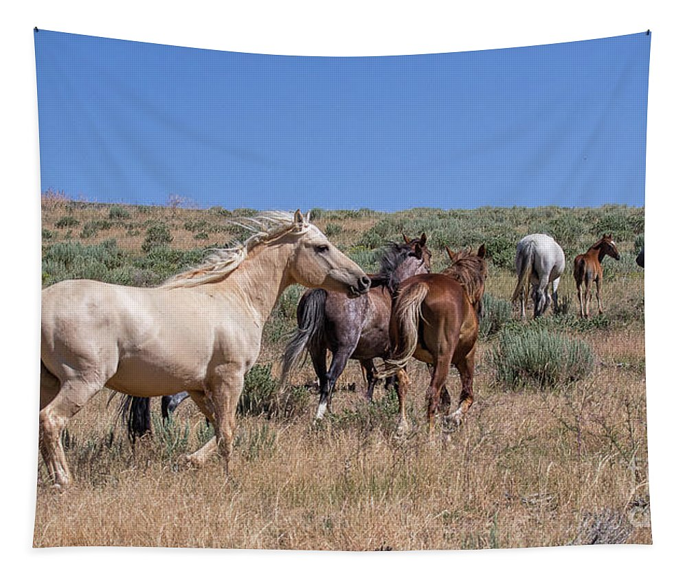 Horses Tapestry featuring the photograph Head Em Up And Move Em Out by Jim Garrison
