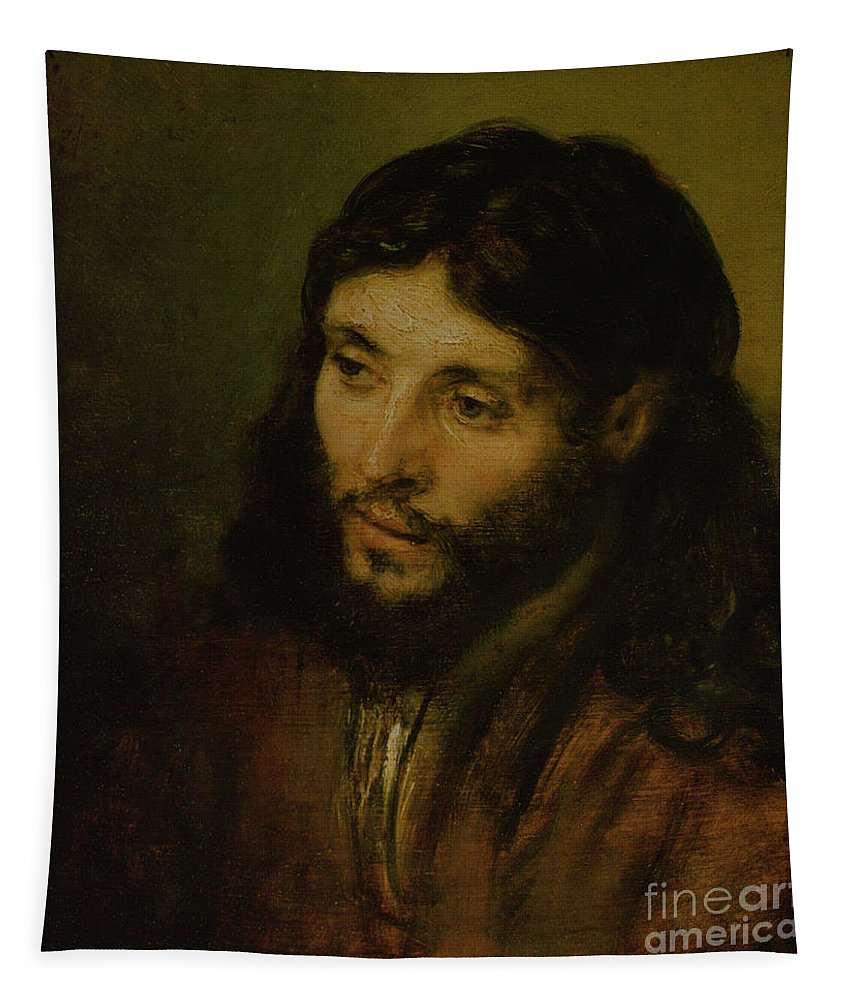 Tapestry featuring the painting Head Of Christ by Rembrandt