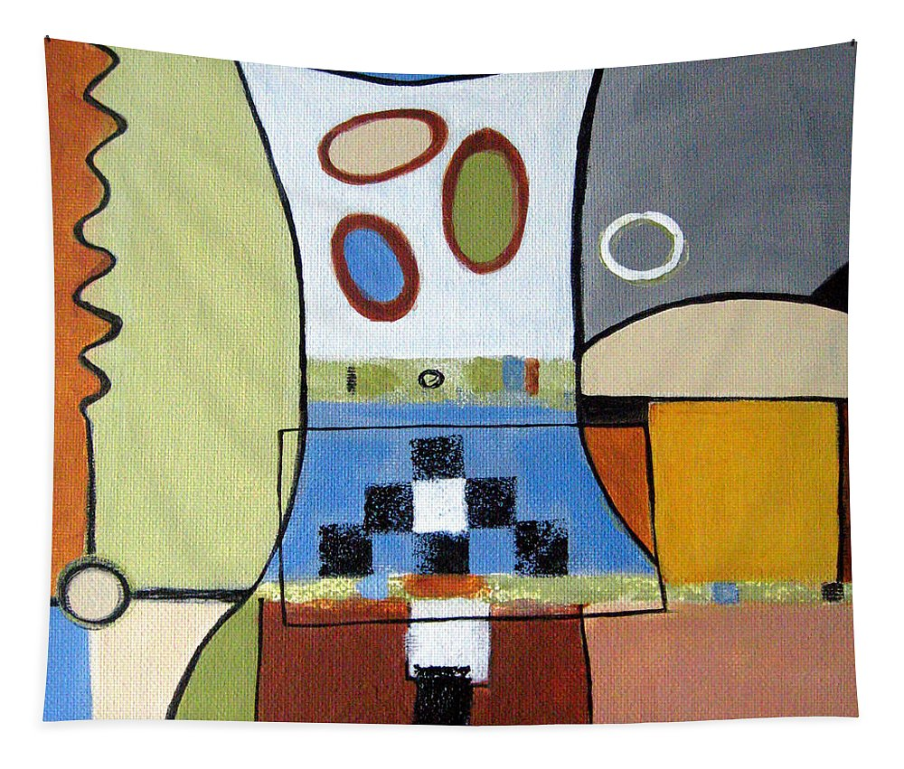 Abstract Tapestry featuring the painting Headspin by Ruth Palmer