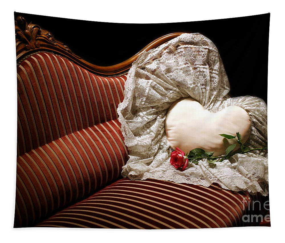 Settee Tapestry featuring the photograph Heart And Rose Victorian Style by Madeline Ellis