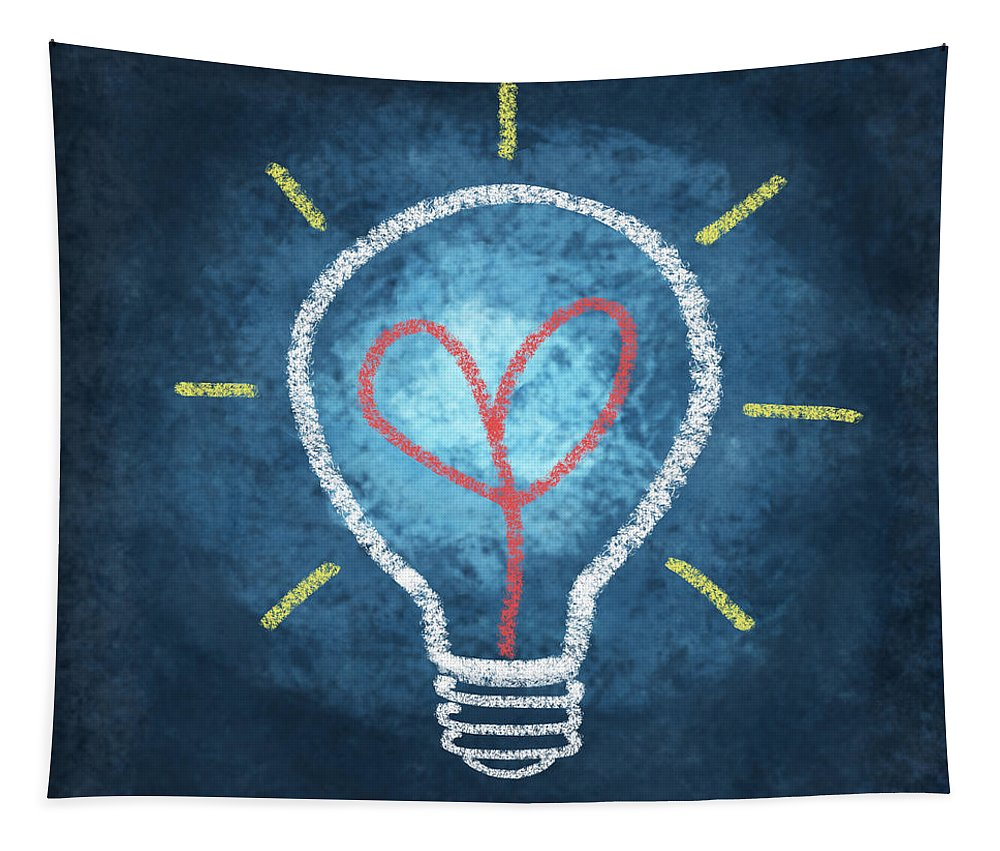 Attentive Tapestry featuring the photograph Heart In Light Bulb by Setsiri Silapasuwanchai
