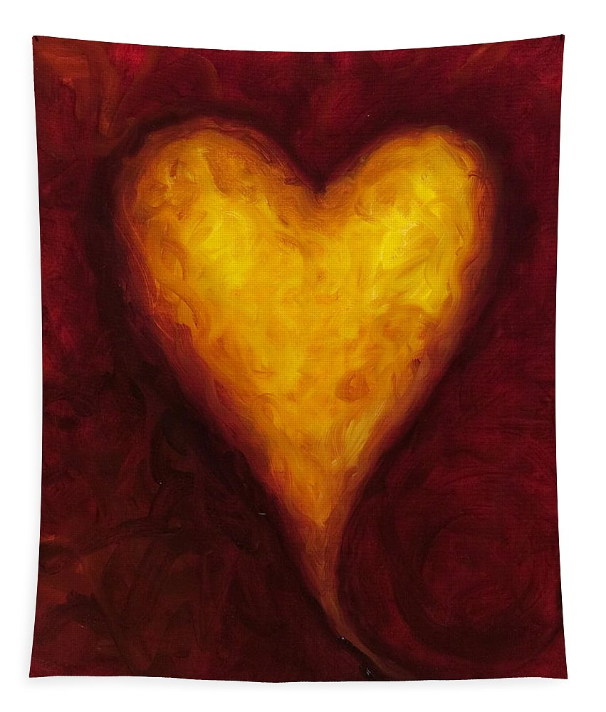 Heart Tapestry featuring the painting Heart of Gold 1 by Shannon Grissom