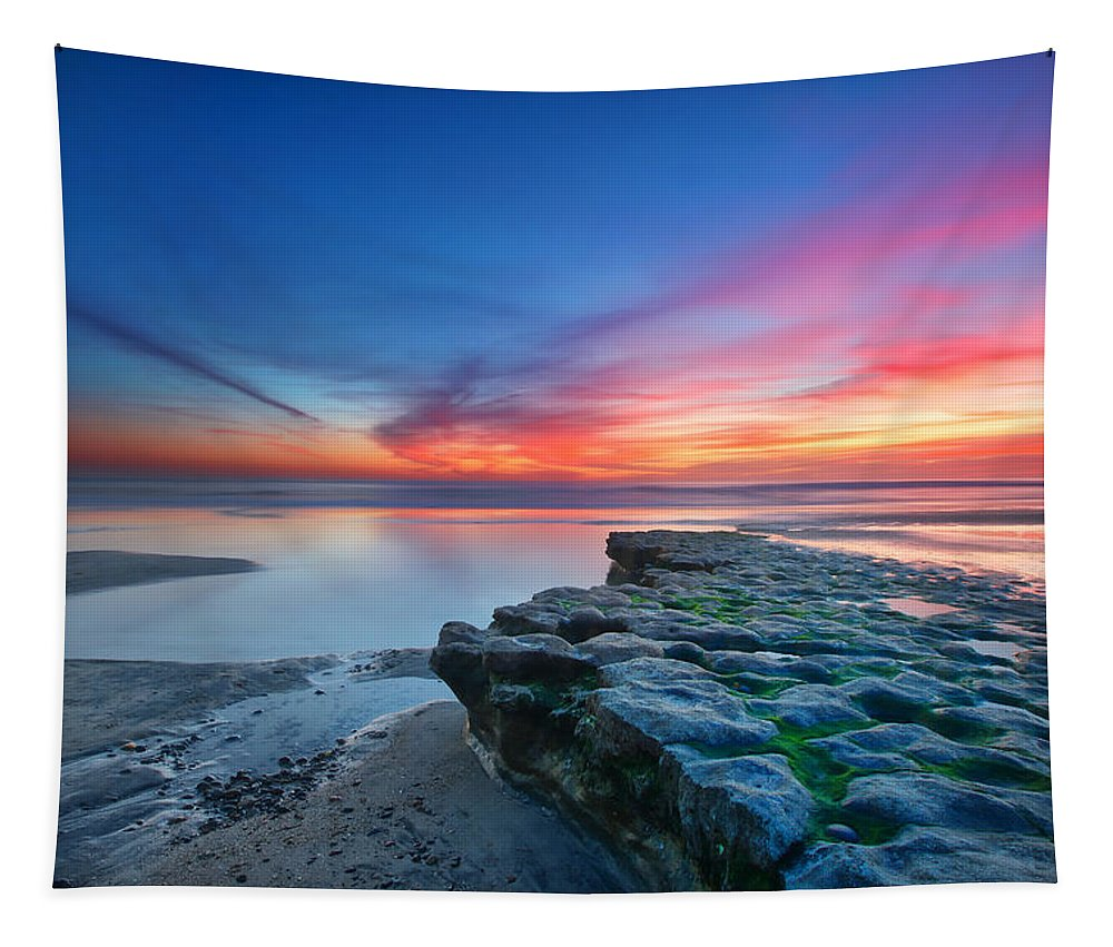 Sunset Tapestry featuring the photograph Heaven and Earth by Larry Marshall