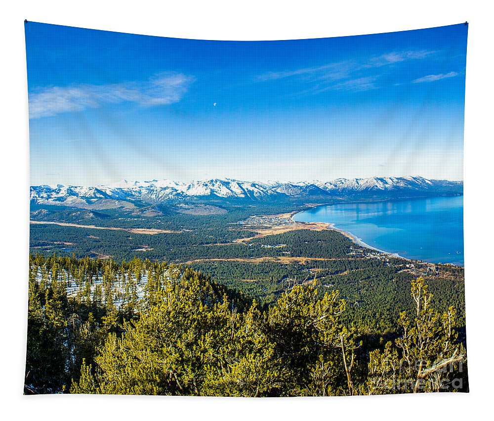 Nature Tapestry featuring the photograph Heavenly South Lake Tahoe View 1 - Left Panel by G Matthew Laughton