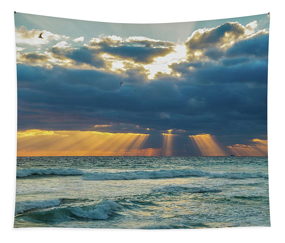 Heaven Tapestry featuring the photograph Heavenly Sunrise Panorama At Riviera Beach by Lynn Bauer