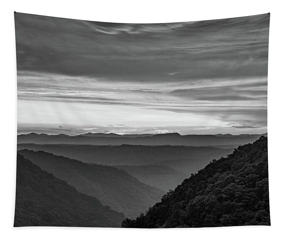 Babcock State Park Tapestry featuring the photograph Heaven's Gate - West Virginia Bw by Steve Harrington