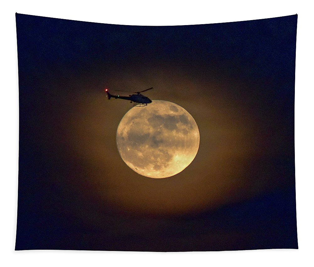 Linda Brody Tapestry featuring the photograph Helicopter Moon And Clouds I by Linda Brody