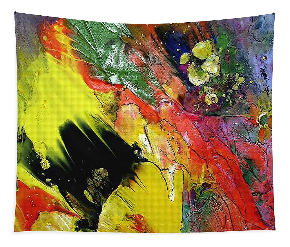 Flowers Tapestry featuring the painting Hello Sunshine 02 by Miki De Goodaboom
