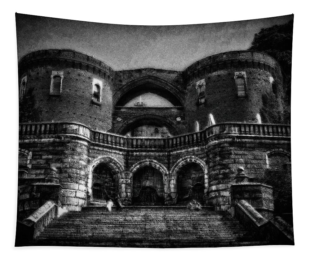 Architecture Tapestry featuring the photograph Helsingborg Black And White by Ramon Martinez