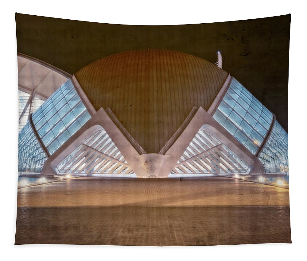 Joan Carroll Tapestry featuring the photograph Architecture Valencia Spain Night II by Joan Carroll