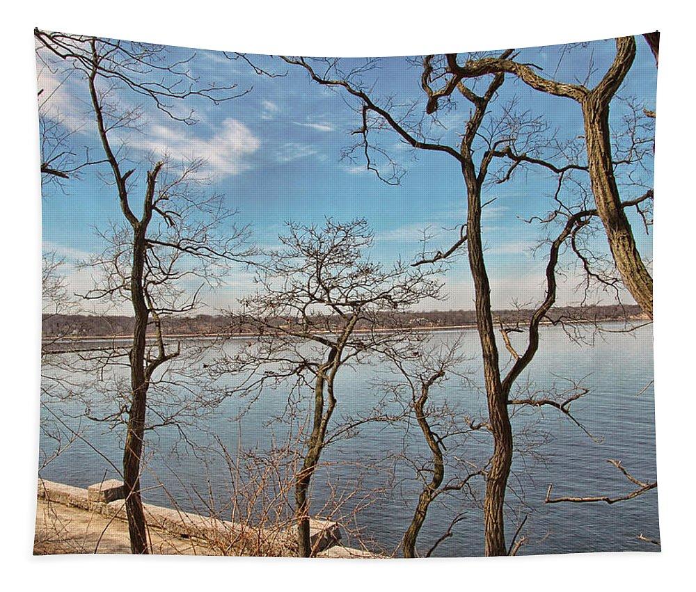 Bob Tapestry featuring the photograph Hempstead Harbor Through The Trees by Bob Slitzan