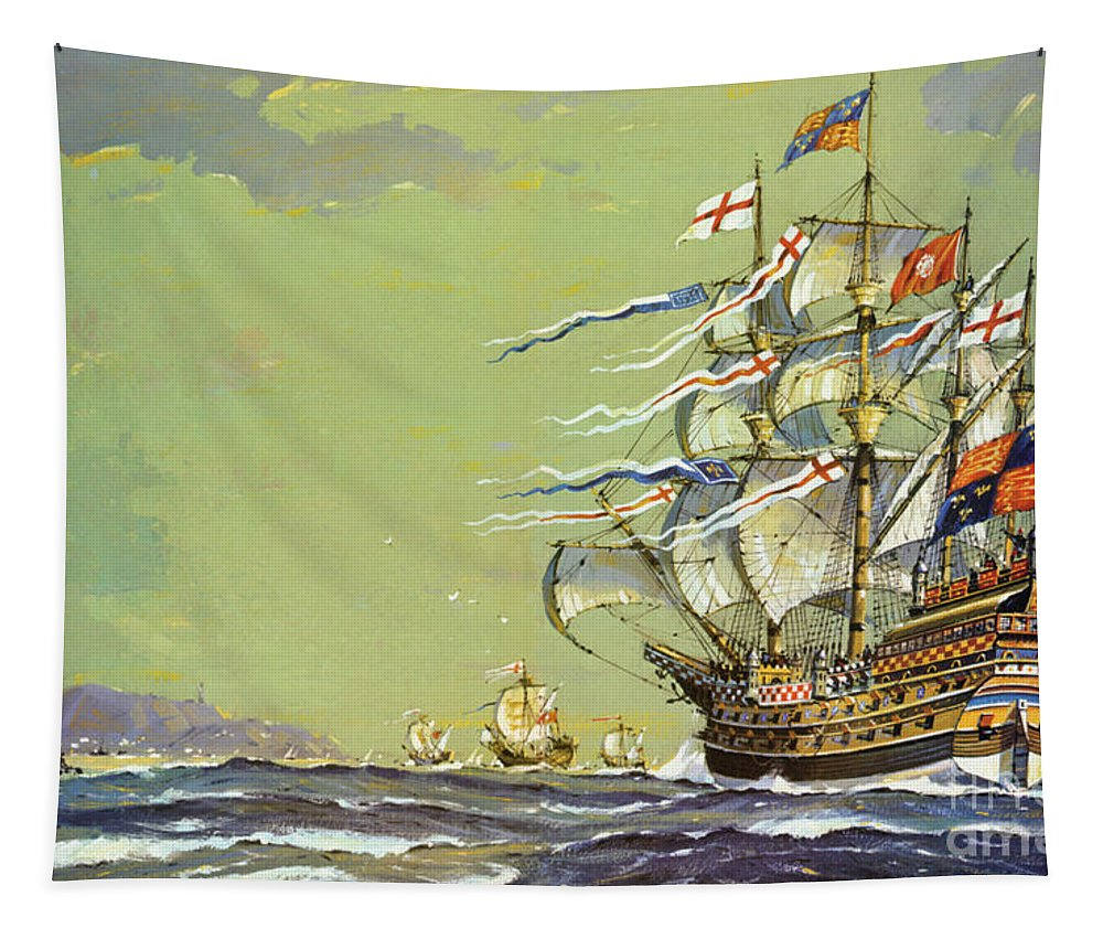 Carrack Tapestry featuring the painting Henri Grace A Dieu, Or The Great Harry by John S Smith