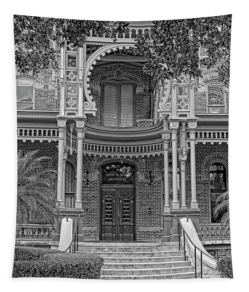 Hh Photography Of Florida Tapestry featuring the photograph Henry B. Plant Museum Entry Bw by HH Photography of Florida