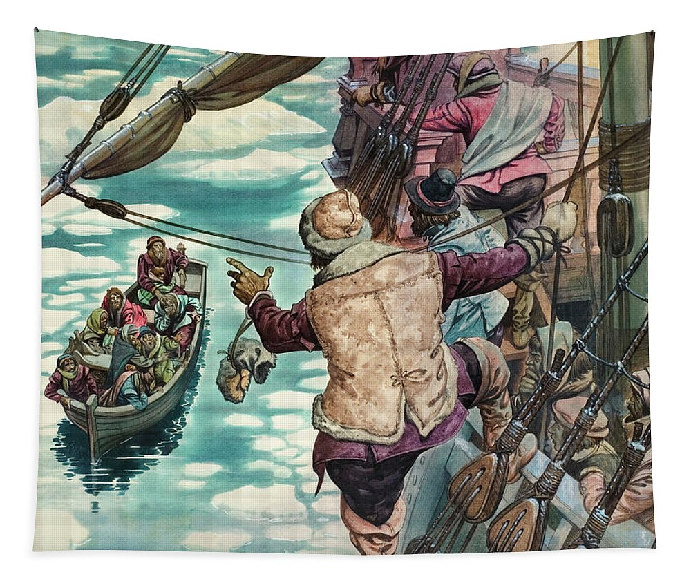 Ice Tapestry featuring the painting Henry Hudson Being Set Adrift by Peter Jackson