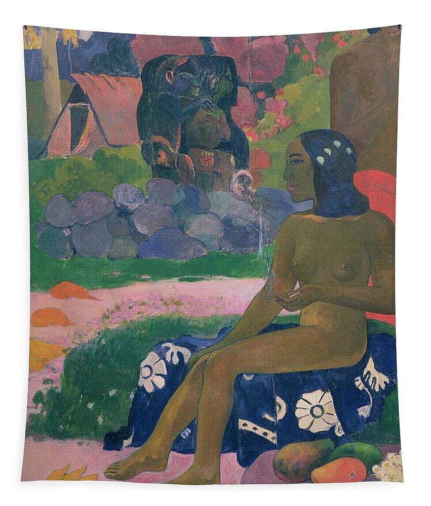 Vairaumati Tei Oa (her Name Is Vairaumati) Tapestry featuring the painting Her Name Is Vairaumati by Paul Gauguin