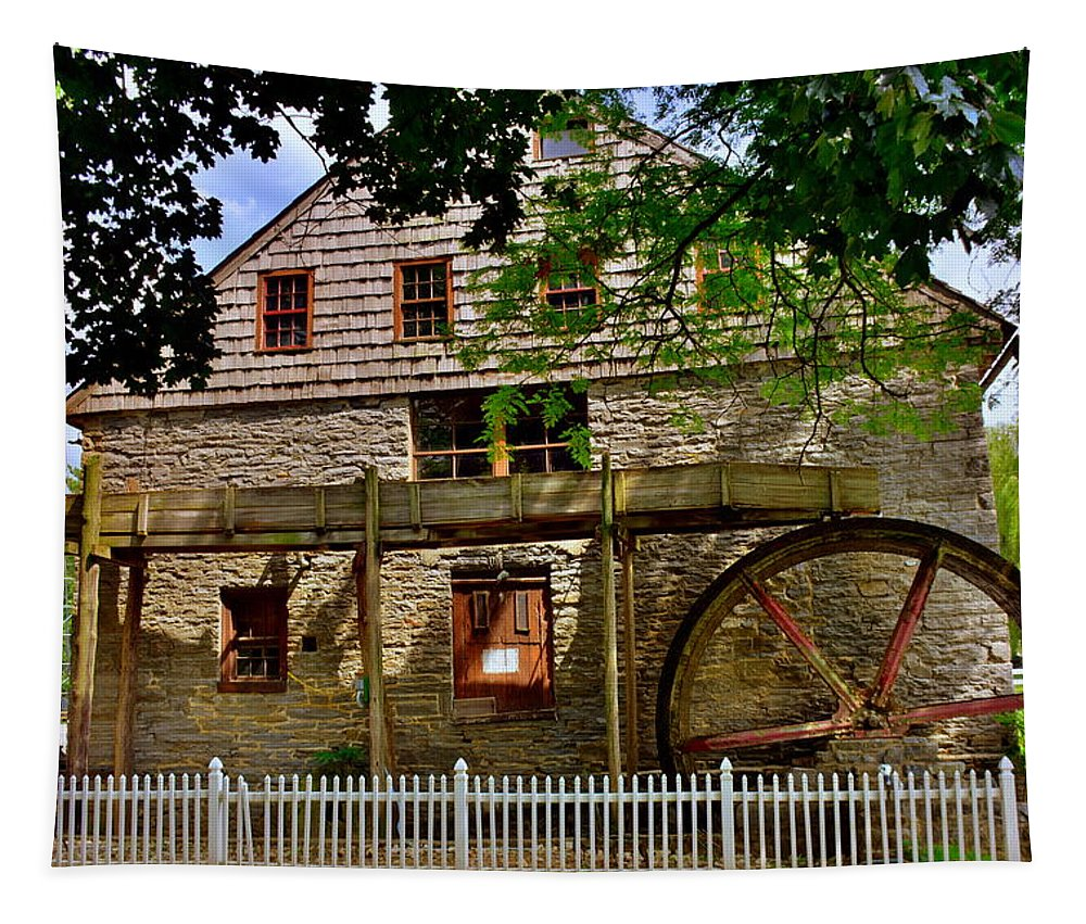 Herr's Grist Mill Tapestry featuring the photograph Herr's Grist Mill by Lisa Wooten