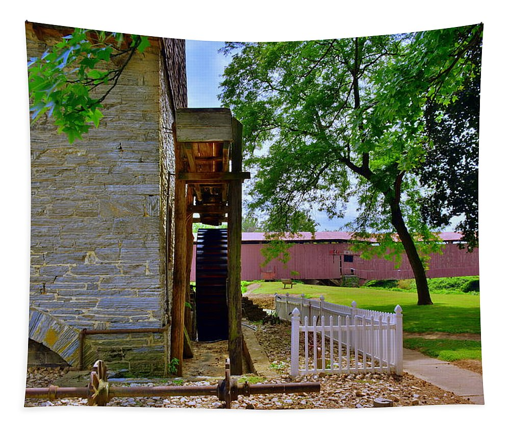 Herr's Mill And Covered Bridge 2 Tapestry featuring the photograph Herr's Mill And Covered Bridge 2 by Lisa Wooten