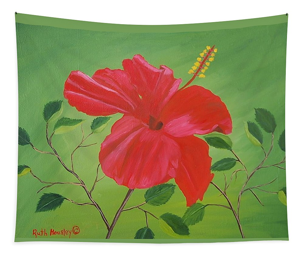 Ruth Housley Fine Art Tapestry featuring the painting Hibiscus by Ruth Housley