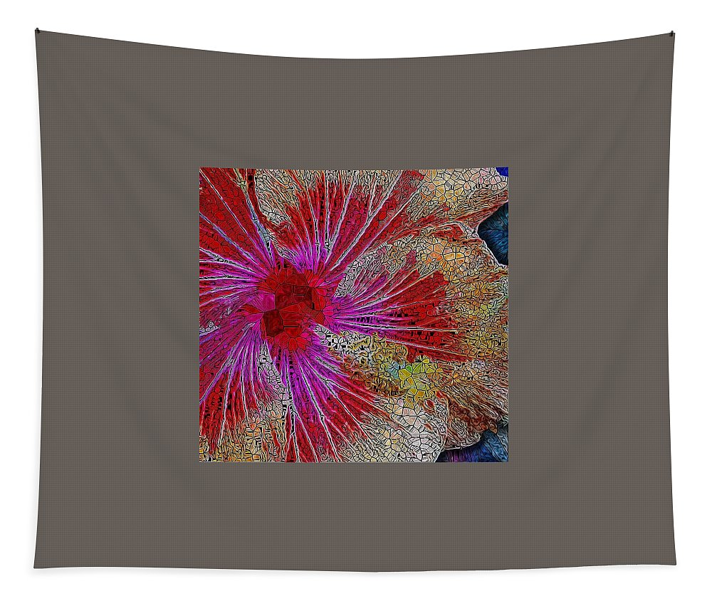 Hibiscus Tapestry featuring the digital art Hibiscus Stained Glass by Mo Barton