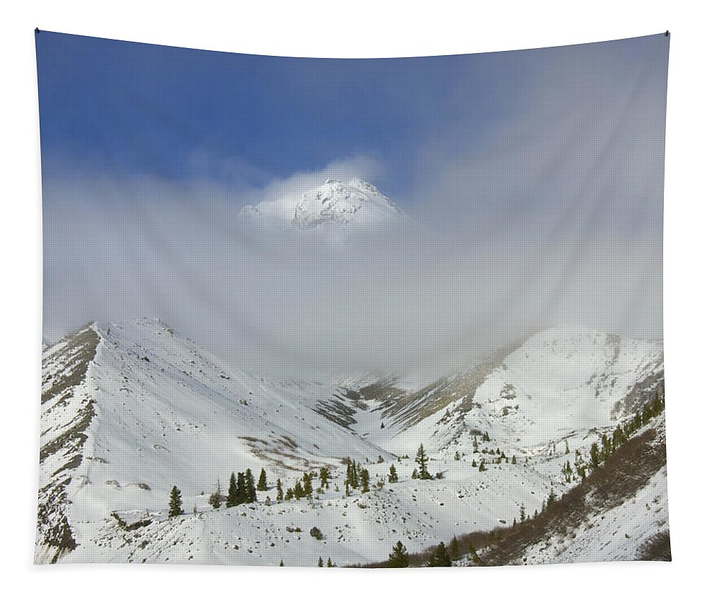 Mt. Hood Tapestry featuring the photograph Hidden In Fog by Mike Dawson
