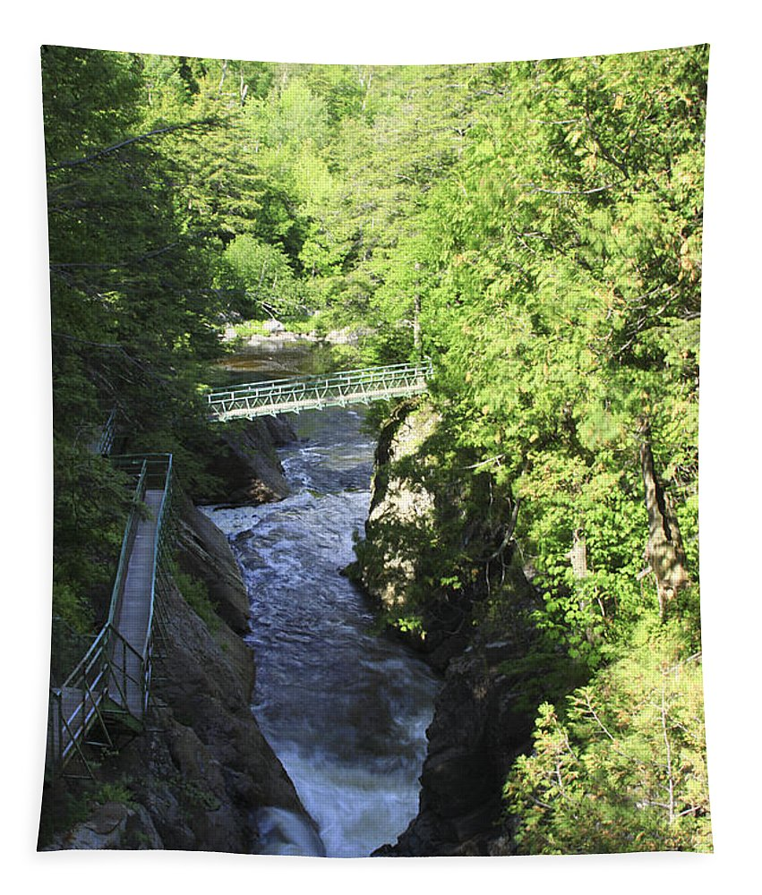 Newyork Tapestry featuring the photograph High Falls Gorge by Deborah Benoit