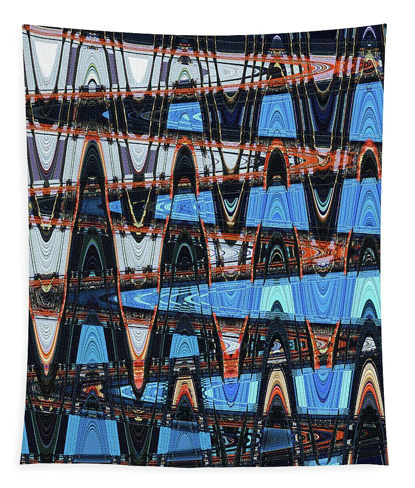 Rise Construction Abstract # 4 Tapestry featuring the photograph High Rise Construction Abstract # 4 by Tom Janca