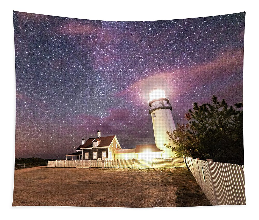 Truro Tapestry featuring the photograph Highland Light Truro Massachusetts Cape Cod Starry Sky Shadow Yard by Toby McGuire